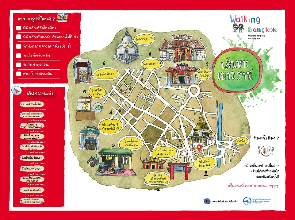 Bangkok walking maps thailand trip reports the first walk takes us along yaowarat road this area is known to foreigners as chinatown the starting point is the cultural museum at wat trimit gumiabroncs Gallery